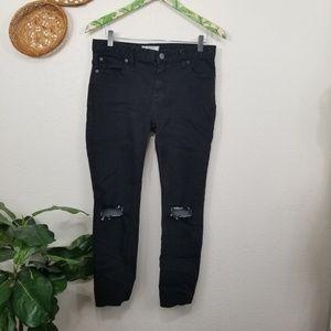 Free People black distressed skinny fit jeans 28